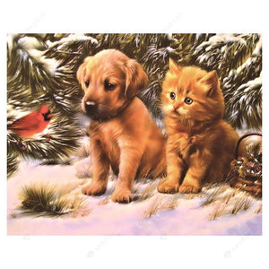 Diamond Painting-Partial Round Drill Cute Dog Cat