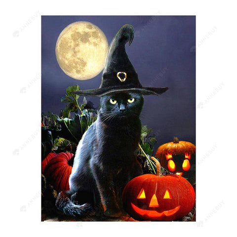 Diamond Painting-5D Full Drill Halloween Black Cat