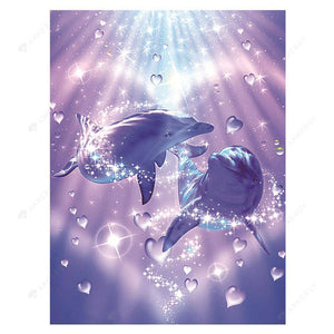 Diamond Painting-5D Full Drill Dolphin Lovers
