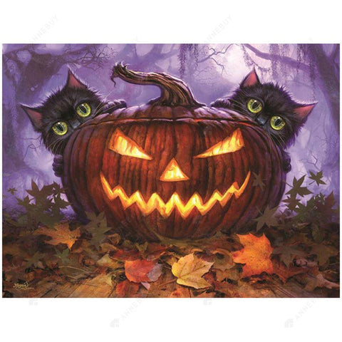 Diamond Painting-5D Full Drill Halloween Pumpkin Cats