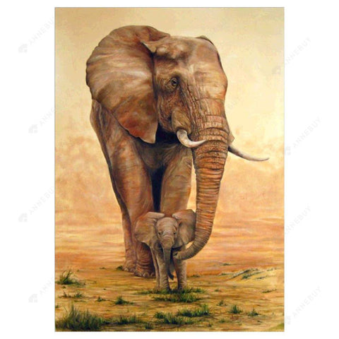 Diamond Painting-5D Full Drill Feeding Elephant