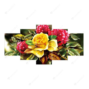 Diamond Painting-5D Full Round Drill 5pcs Flowers