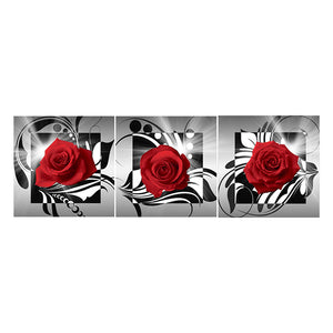 Diamond Painting-5D Full Round Drill 3pcs Red Rose