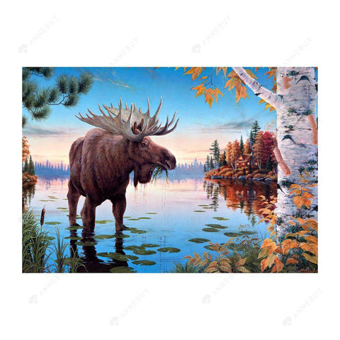 Diamond Painting-5D Full Drill Round Beads Lakeside Moose