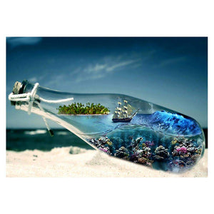 Diamond Painting-5D Full Drill Round Beads Underwater World Bottle