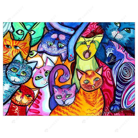 Diamond Painting-5D Full Drill VKTECH Colorful Cat