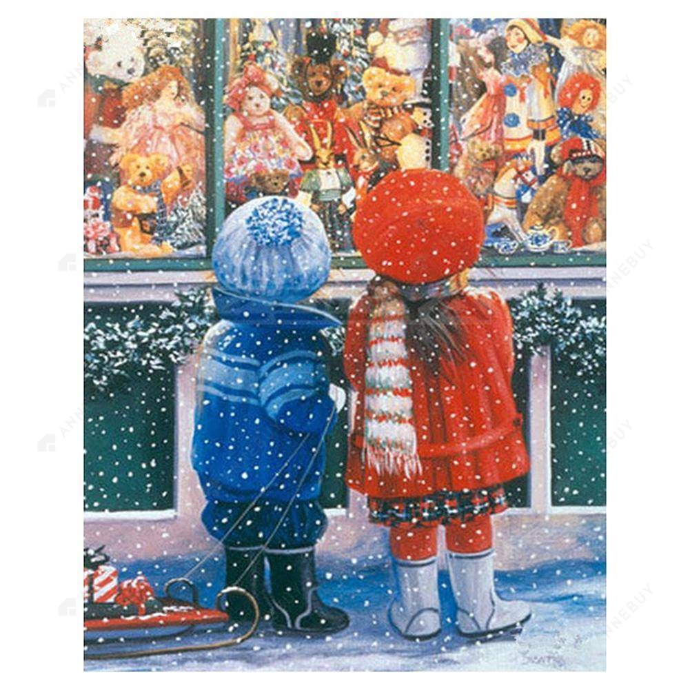 Diamond Painting-Partial Drill Round Christmas Street Little Boy and Girl
