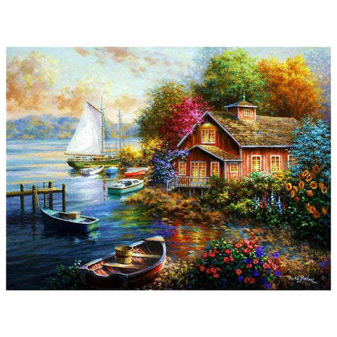 Diamond Painting-5D Full Round Drill Colorful Village