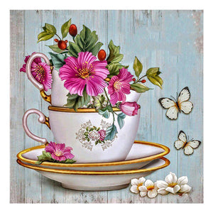 Diamond Painting-DIY Full Round Drill Pink Flowers in Cup