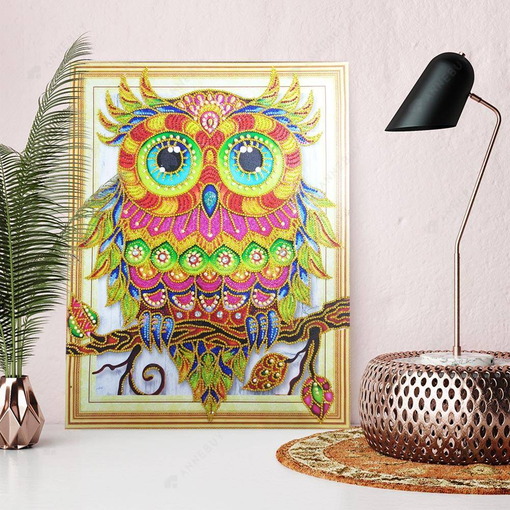 Diamond Painting-DIY Crystal Rhinestone Colorful Bird Owl