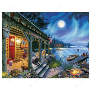Diamond Painting-5D Full Drill Round Beads Lake Night