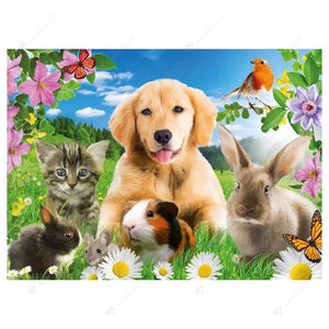 Diamond Painting-5D Full Drill Cute Animals