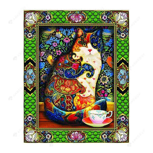 Diamond Painting-Special Shaped Partial Drill Colorful Cat