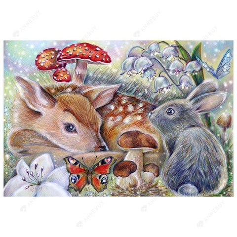 Diamond Painting-5D Full Round Drill Rabbit and Deer