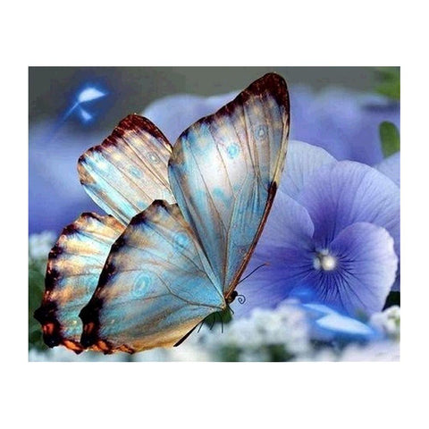 Diamond Painting-5D Full Drill Blue Butterfly