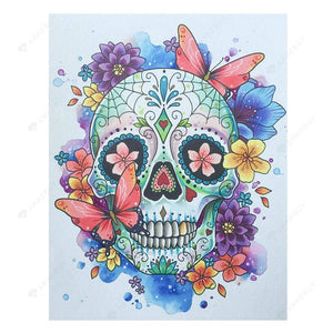 5D Full Drill-Flowers Skull Cross Stitch Embroidery