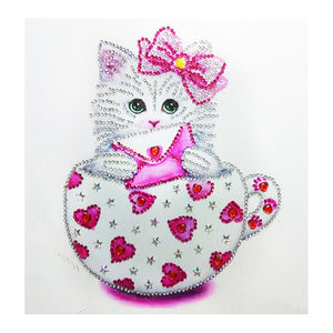 Diamond Painting-Special Shaped Partial Drill Cute Cat Cup