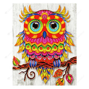 Diamond Painting-DIY Crystal Rhinestone Colored Owl