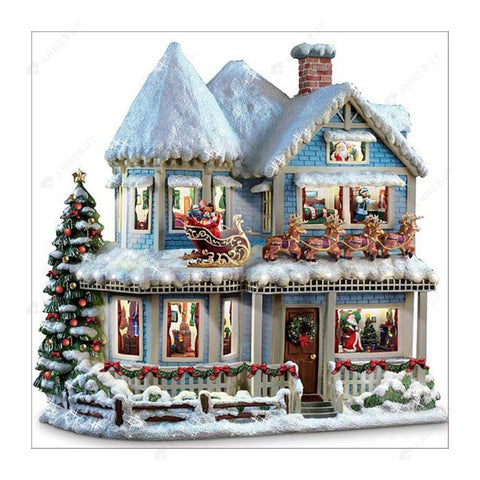 5D Full Drill-Christmas House Cross Stitch Embroidery Kits
