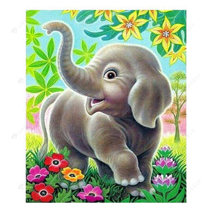 Diamond Painting-5D Full Drill Cute Elephant