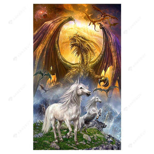 Diamond Painting-5D Full Round Drill Dragon and Unicorn