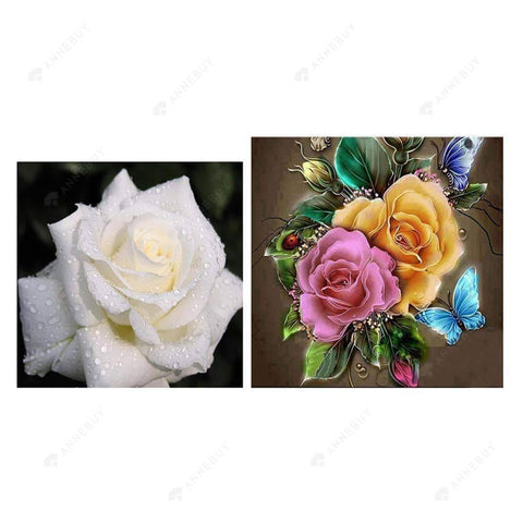 Partial Drill-2pcs Painting Roses Cross Stitch Embroidery Kit