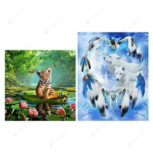 Partial Drill-2pcs Painting Tiger Wolf Cross Stitch Embroidery