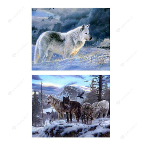 Partial Drill-2pcs Painting Wolf Cross Stitch Embroidery Mosaic
