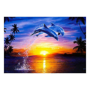 5D Full Drill-Sunset Dolphin Cross Stitch Embroidery