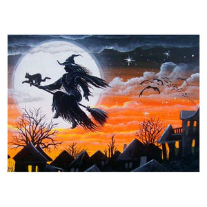 Diamond Painting- 5D Full Drill-Halloween Cat Witch