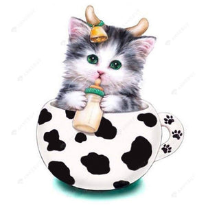 Diamond Painting- Partial Drill  Cup Cat Baby