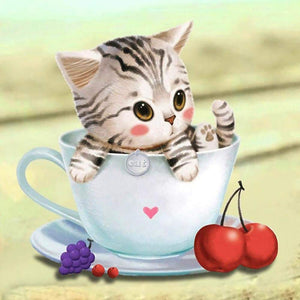 Diamond Painting- Partial Drill  Cute Cup Cat