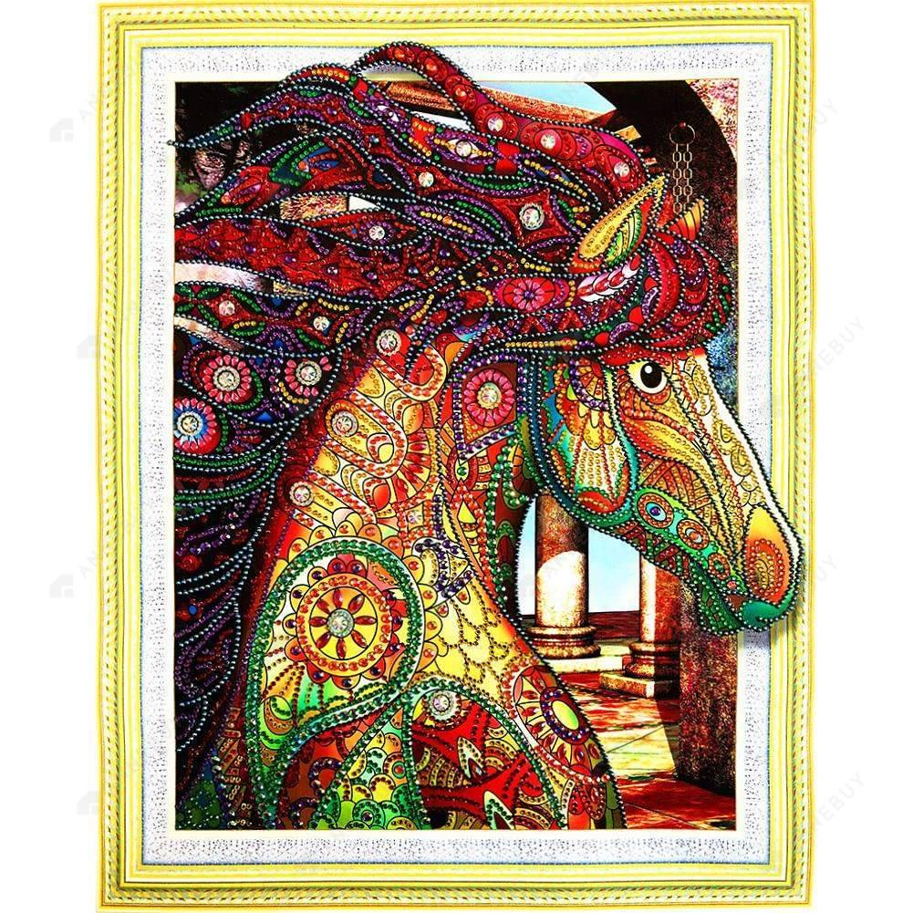 Diamond Painting-Special Shaped Partial Drill Horse