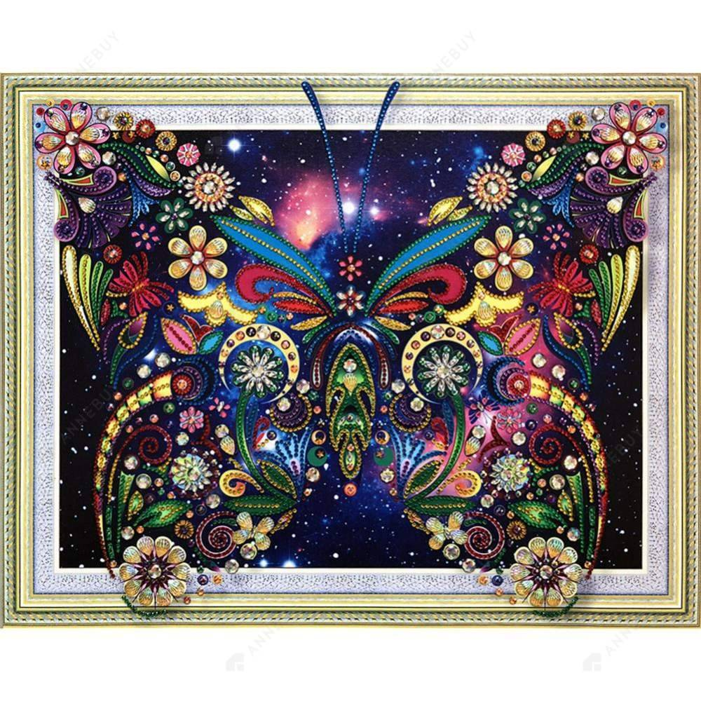 Diamond Painting-Special Shaped Partial Drill Butterfly