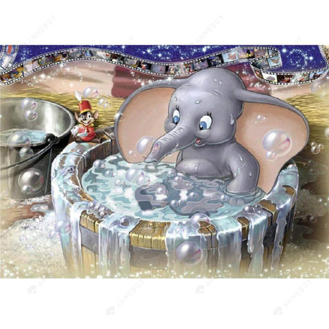 Diamond Painting-5D Full Drill Shower Elephant