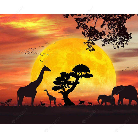 Diamond Painting-5D Full Round Drill Giraffe in the Sunset