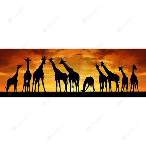Diamond Painting-DIY Full Round Drill Sunset Giraffes