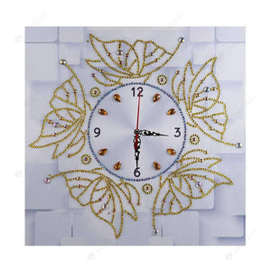Diamond Painting-Special Shaped drill Gold Butterfly Wall Clock Craft Decor