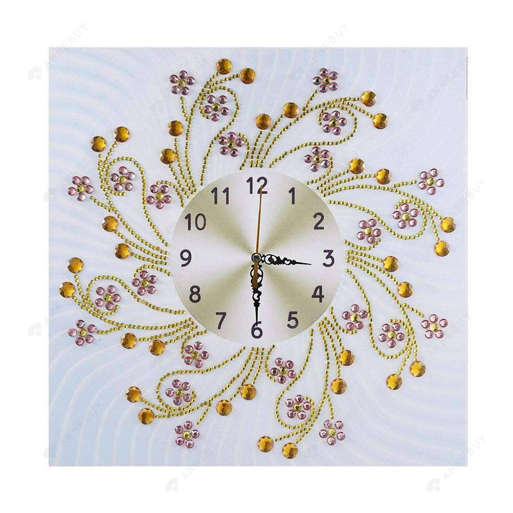 Diamond Painting-Special Shaped drill Floral Wall Clock Crafts Kit