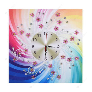 Diamond Painting-Special Shaped drill Pearls Floral Wall Clock Crafts Decor