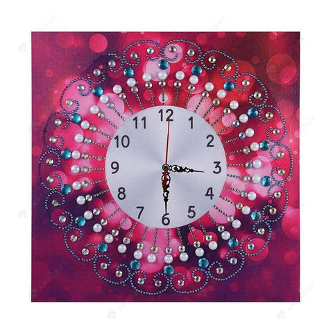 Diamond Painting-Special Shaped drill Red Flower Wall Clock Crafts Art Decor