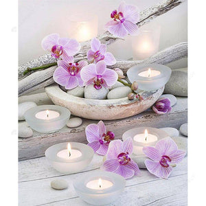 Diamond Painting-5D Full Square Drill Candle Flower