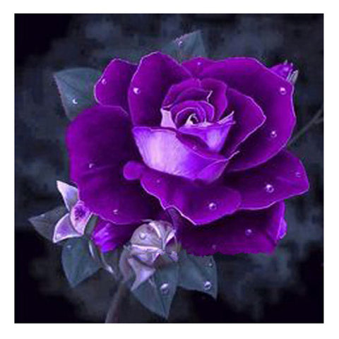 Diamond Painting-5D Full Square Drill Purple Rose