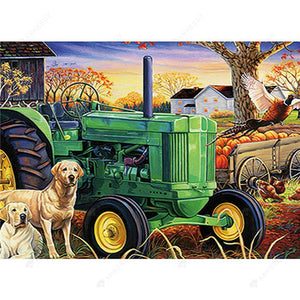 Diamond Painting-5D Full Round Drill Tractor Dog