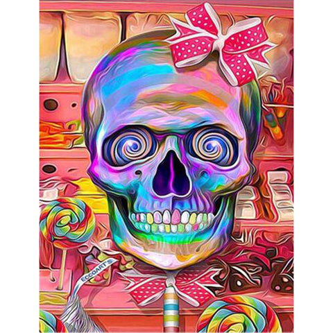 Diamond Painting-5D Full Round Drill Colorful Skull