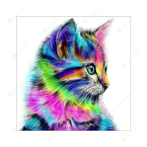 Diamond Painting-5D Full Square Drill Color Cat