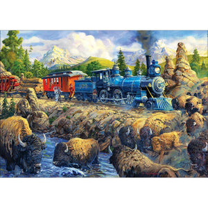 Diamond Painting-5D Full Round Drill Train and Sheep in countryside