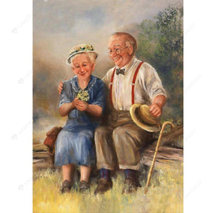 Diamond Painting-5D Full Round Drill Warm Old Lovers
