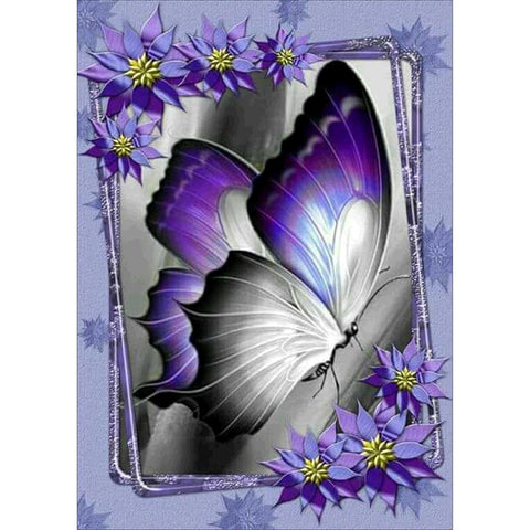 Diamond Painting-5D Full Round Drill Purple Butterfly