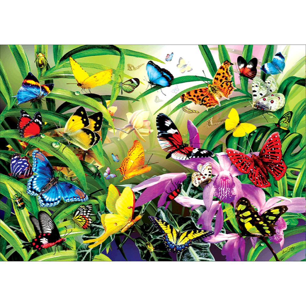Diamond Painting-5D Full Round Drill Garden Butterflies